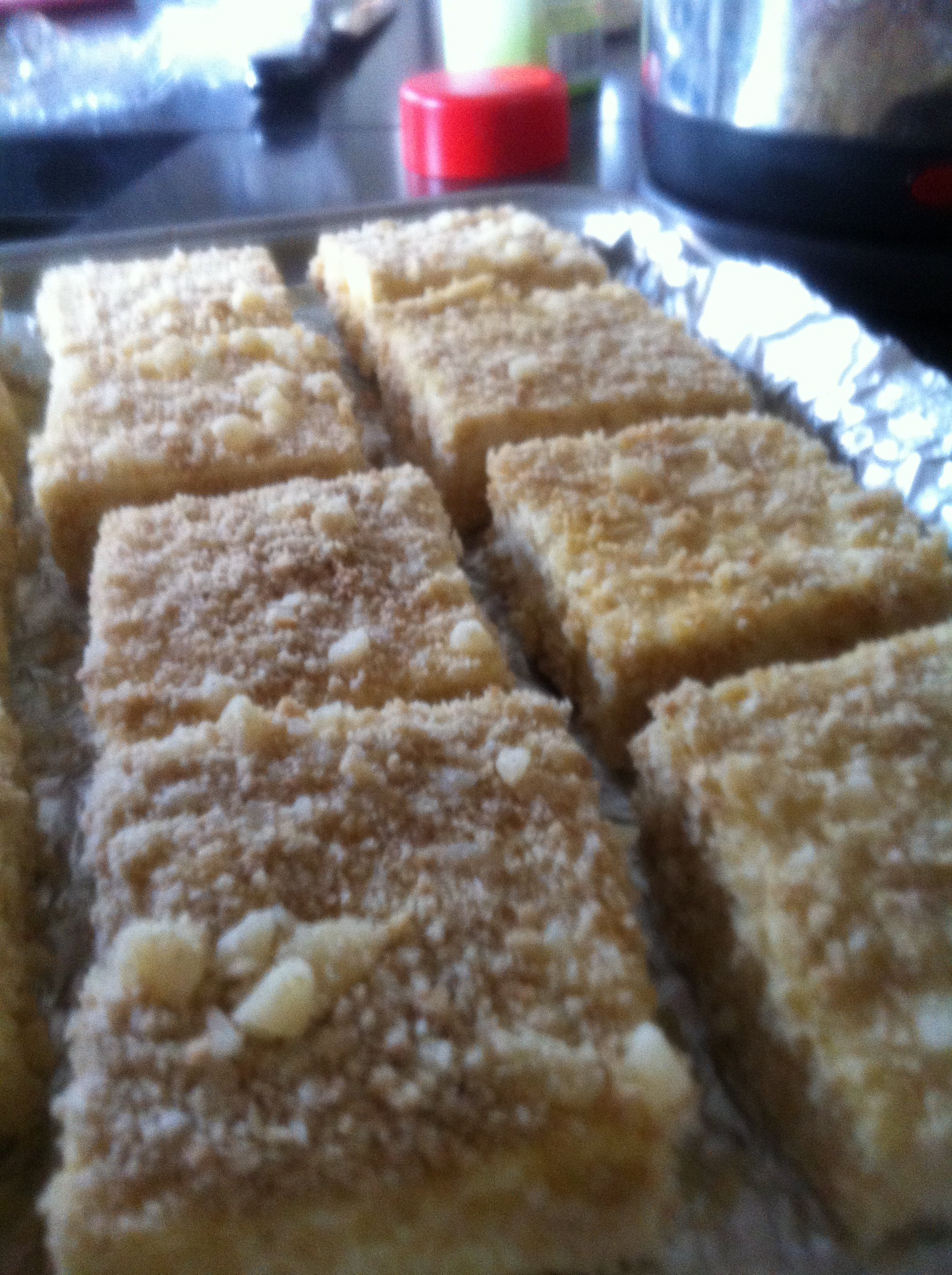 Breaded tofu squares. Used with the soba dish, I'll use  this recipe  again to cut up and throw in salads. They were great leftover the next day!