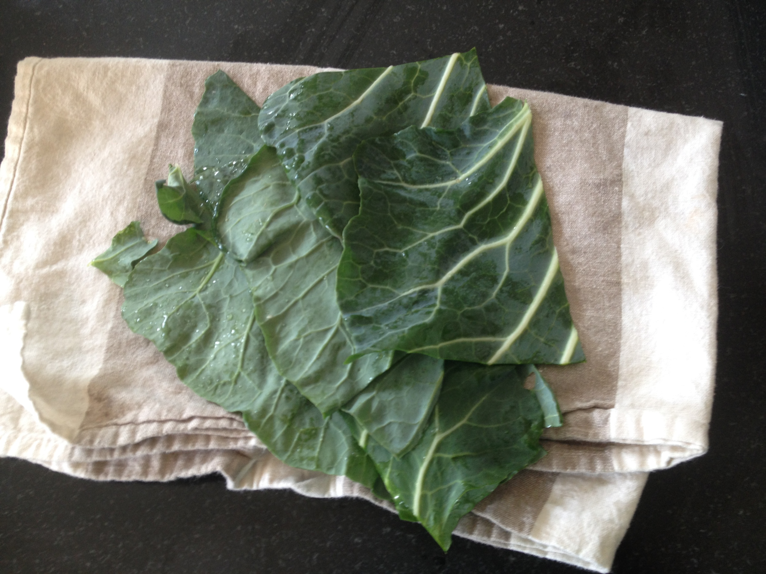 I like to cut up a bunch to have them on hand in the fridge. I also love to spread hummus on collards. Again you can make any old wrap you like! Yum.