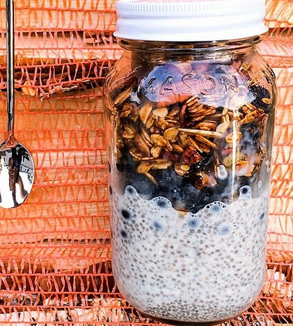 Meal idea: over night chia pudding. This picture is ONE way you can make this delicious meal. Here is the recipe that I have been following and it's super yummy: 1/2 cup of almond milk, 1 tablespoon of chia seeds, 1/2 cup of rolled oats (NOT quick or steel cut), 1/2 cup of yogurt (whatever flavor you like- if you choose plain greek you will want to add a bit of honey to sweeten it up) 4-5 walnut halves, 1 tablespoon of raw pumpkin seeds, and a shake or two of cinnamon. Mix it together with a spoon and let it sit covered over night in the fridge. YUM!