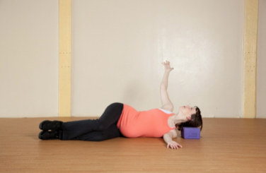 After this series feel free to take stretch to open up your chest and twist a bit in your upper spine. Don't OVER stretch in this position, if you feel excessive pulling across your belly untwist a bit and focus on the stretch you are getting through your chest and arm.