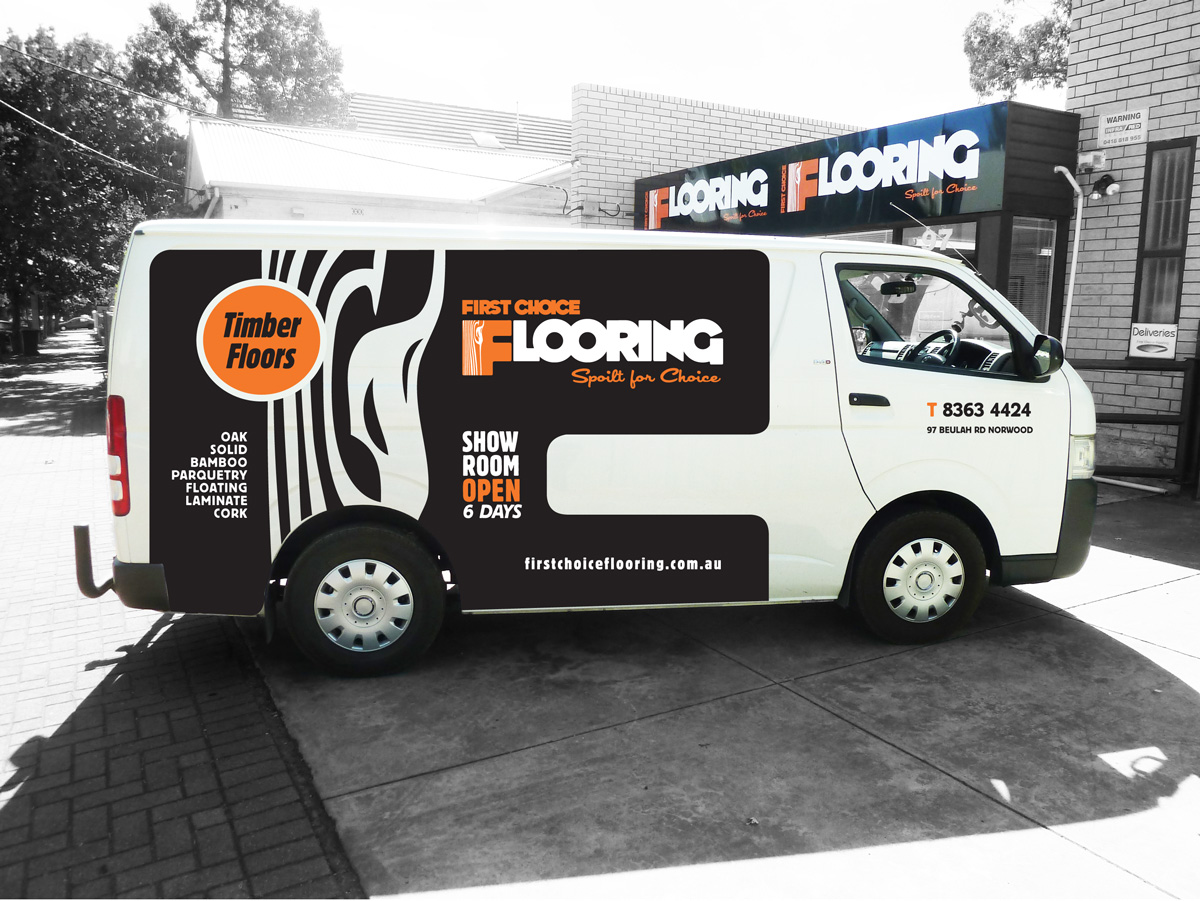 First Choice Flooring Van Signage Design. Adelaide