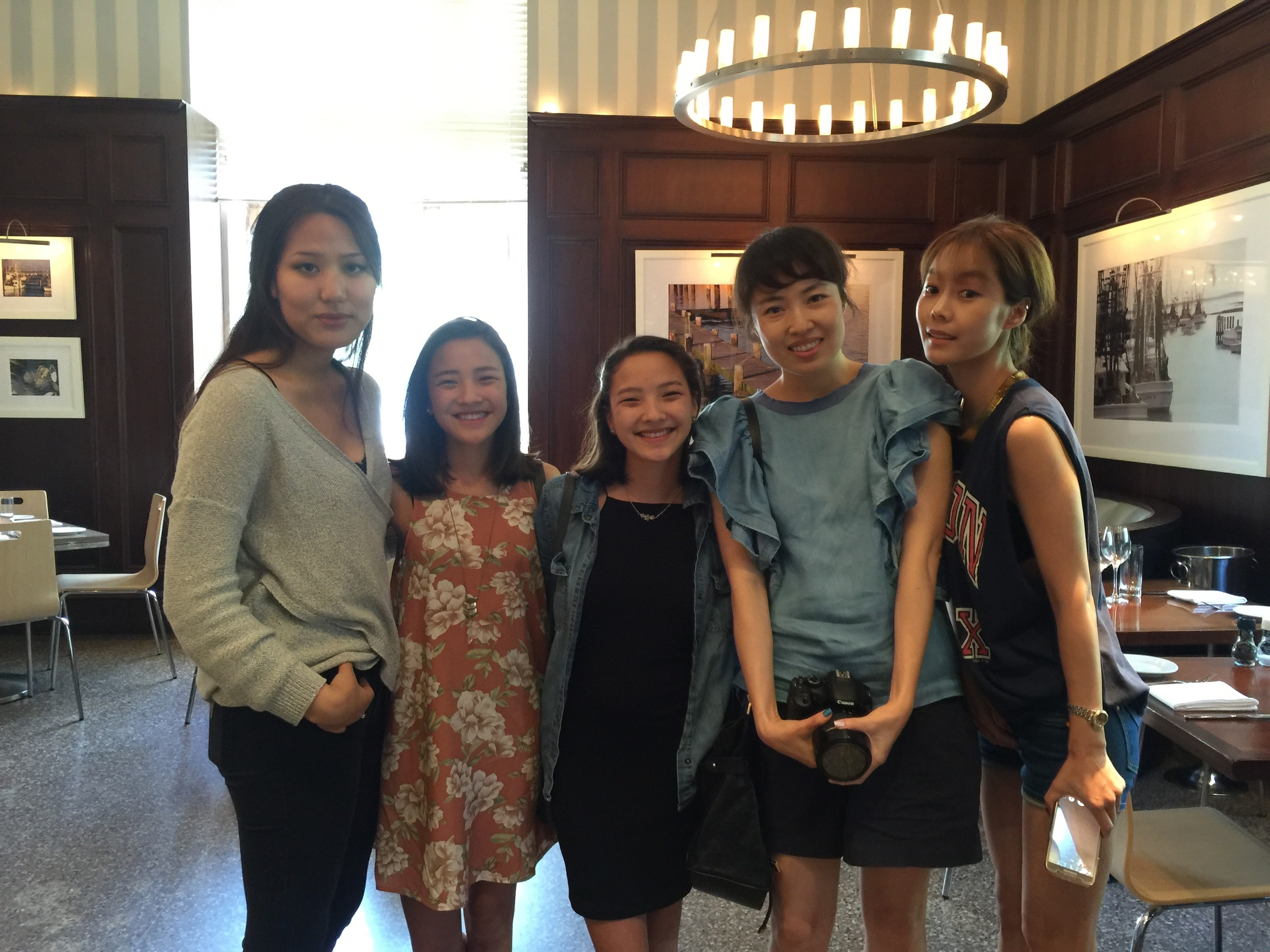 After interviewing actors for KRadio1660, reporter Jeesun Kim (second from right) posed with Rosalina,  Uatachet & Nekhebet, and Sue.