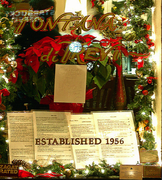 The Christmastime window at the now-closed Fontana di Trevi in Manhattan. Photo by Jim on Flickr, via popspotsnyc.com.