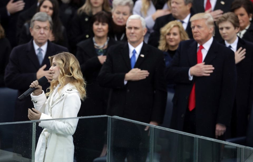 Jackie Evancho performing at the Inauguration of  President Trump. Source: Billboard