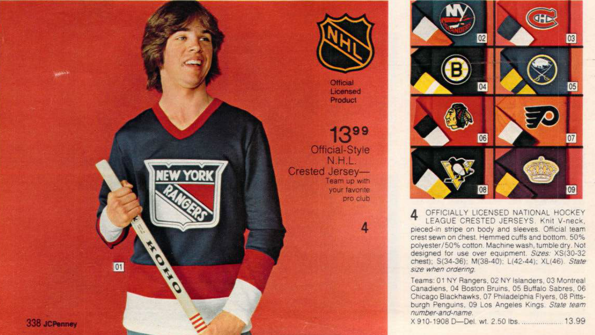 1980 Rangers Jersey from the JCPenny's Xmas Catalog. Source: Imgur