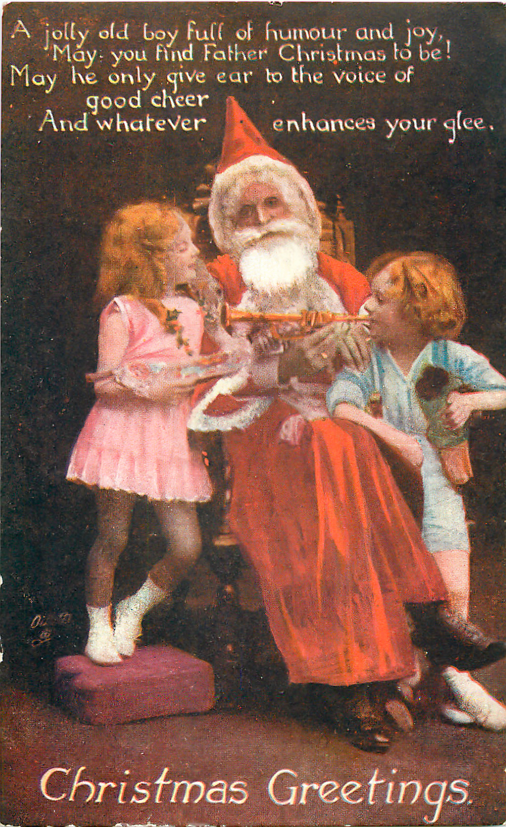 """An English postcard of 1919 epitomises the OED' s definition of Father Christmas as """"the personification of Christmas as a benevolent old man with a flowing white beard, wearing a red sleeved gown and hood trimmed with white fur, and carrying a sack of Christmas presents"""". Source: Wikipedia"""