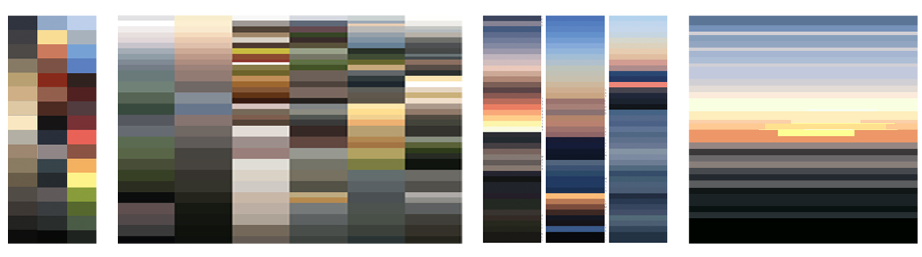(Above) A series of digital color studies taken from photographs (from left to right): night/dusk/daytime, stormy palette, sunset palette, sunset color study for individual painting.