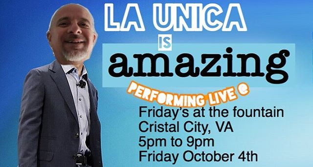 "La Unica will be playing this Friday October 4th in Crystal City - 5pm to 9pm - ""Friday's at the Fountain. . . . #CrystalCity #CristalCity #Borderlessjams #jeffbezos #launica #bezos #fridaysatthefountain TGIF"