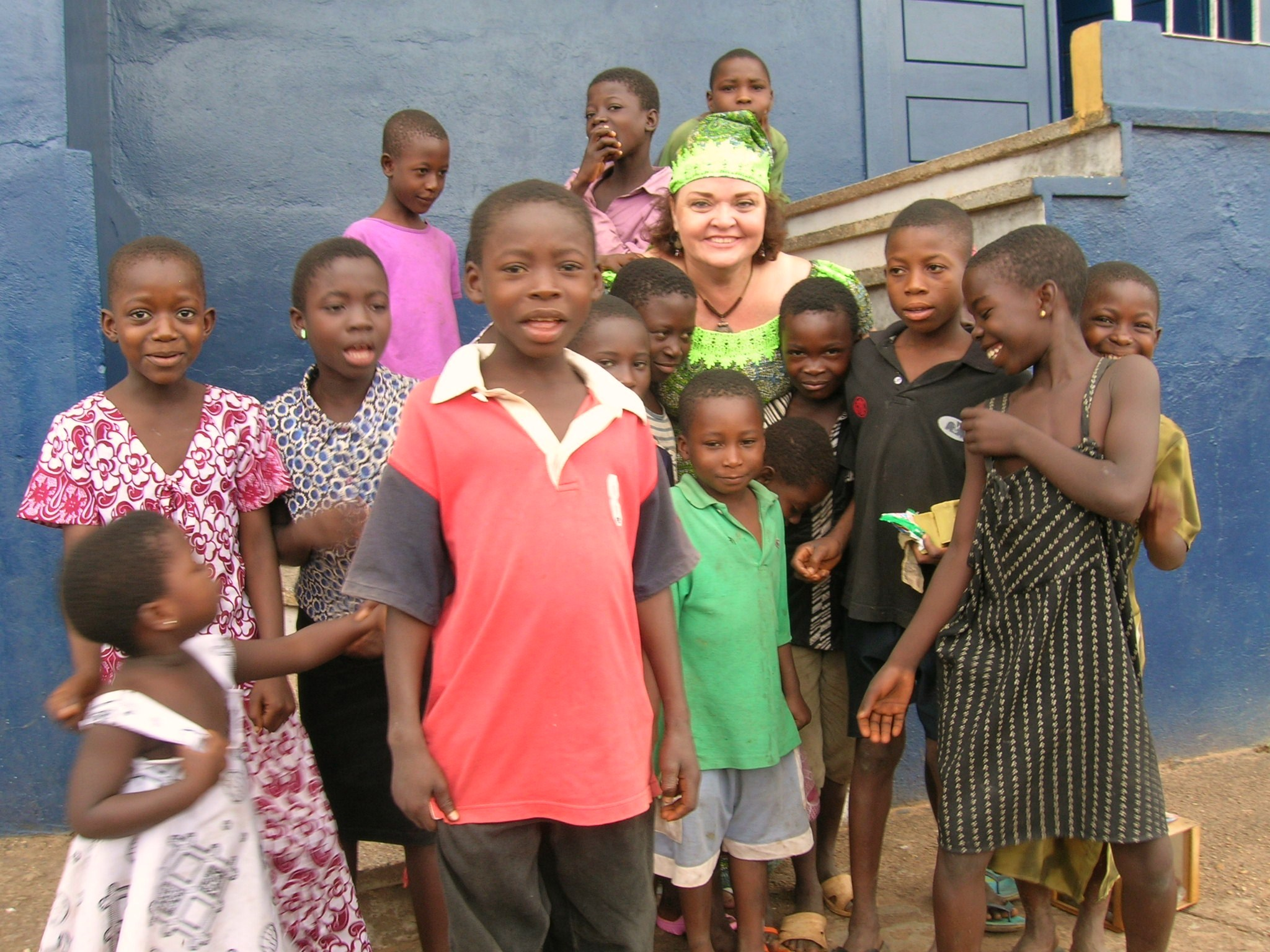 With students in Apesokubi, Ghana.
