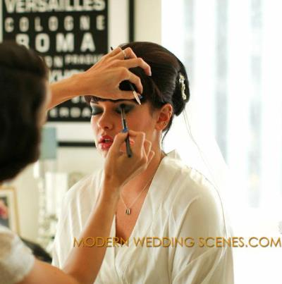 LC Doing Makeup on a bride