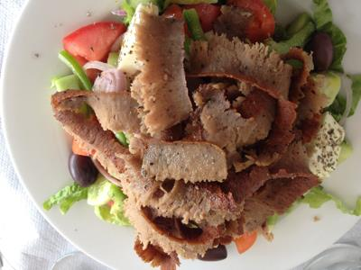 Gyro over Greek salad