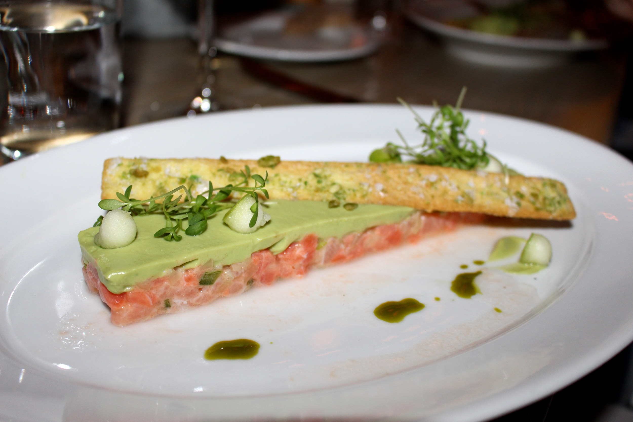artare of Organic Salmon w/Avocado Cremeux + Spicy Sweet Pea Cracker