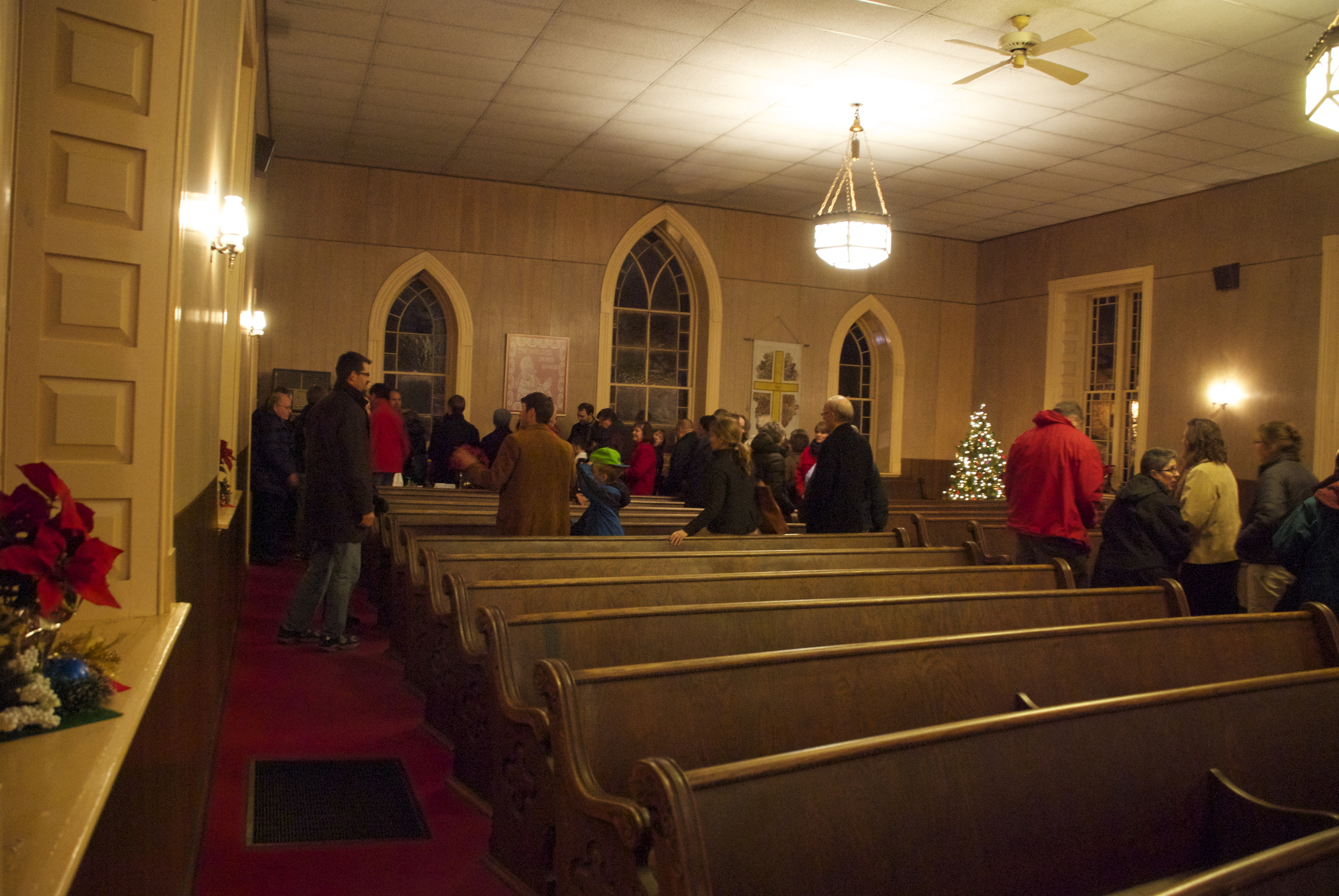 Part of the audience leaving the sanctuary.
