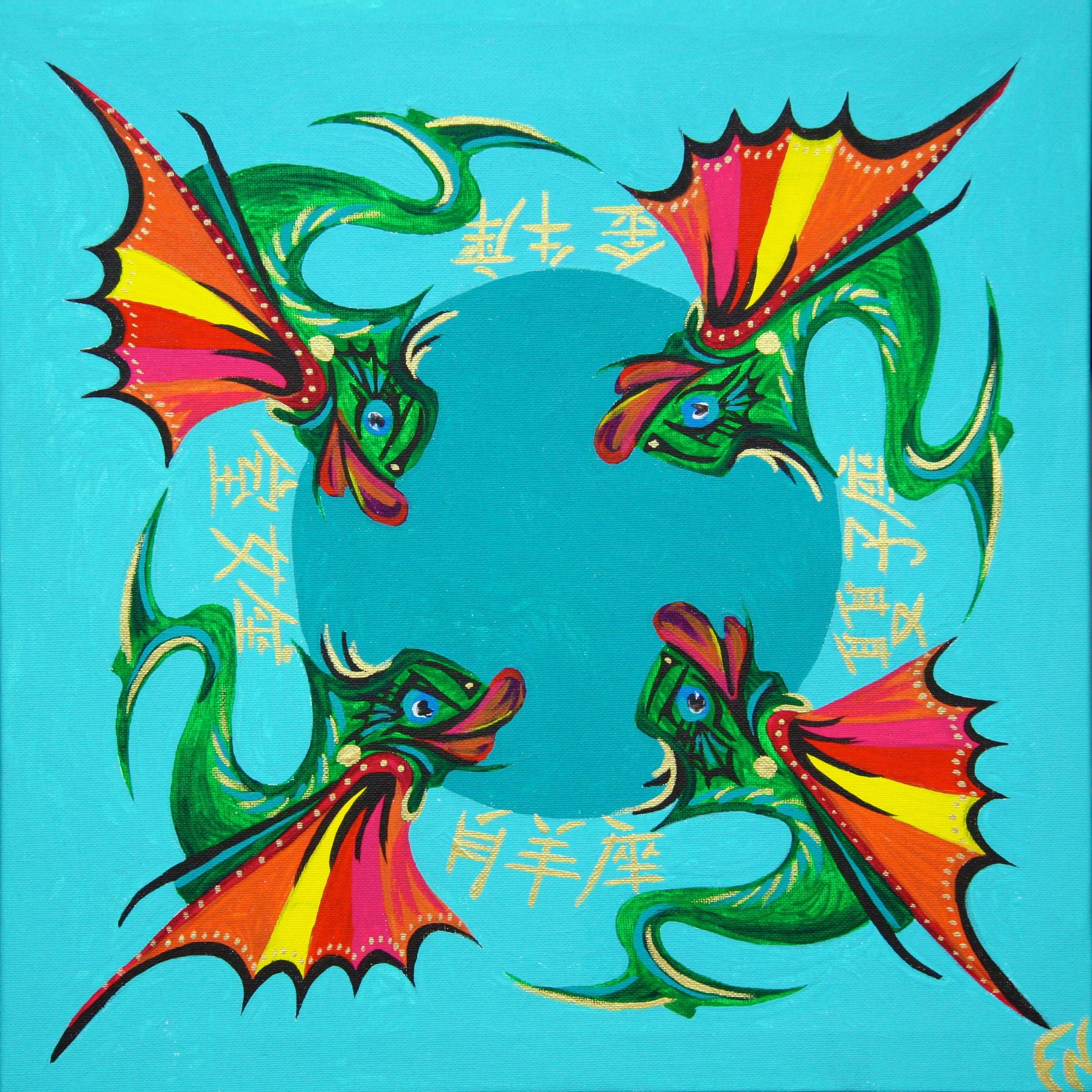 Dragon Fish Painting Size 40x40cm Contact Feike for pricing info