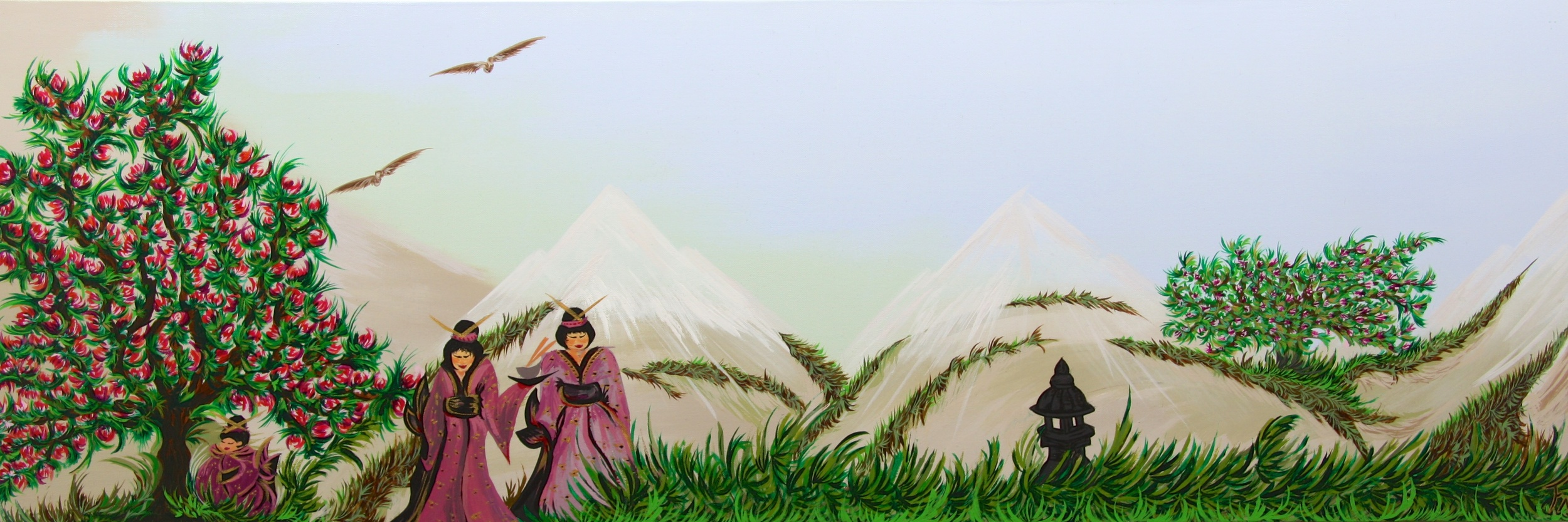 Japanese Women In Landscape Size 50x150cm Not available