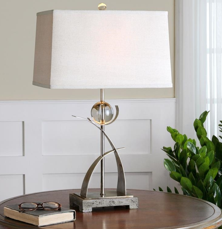 Interesting-uttermost-table-lamps-on-round-wooden-table-beside-interior-plant.jpg
