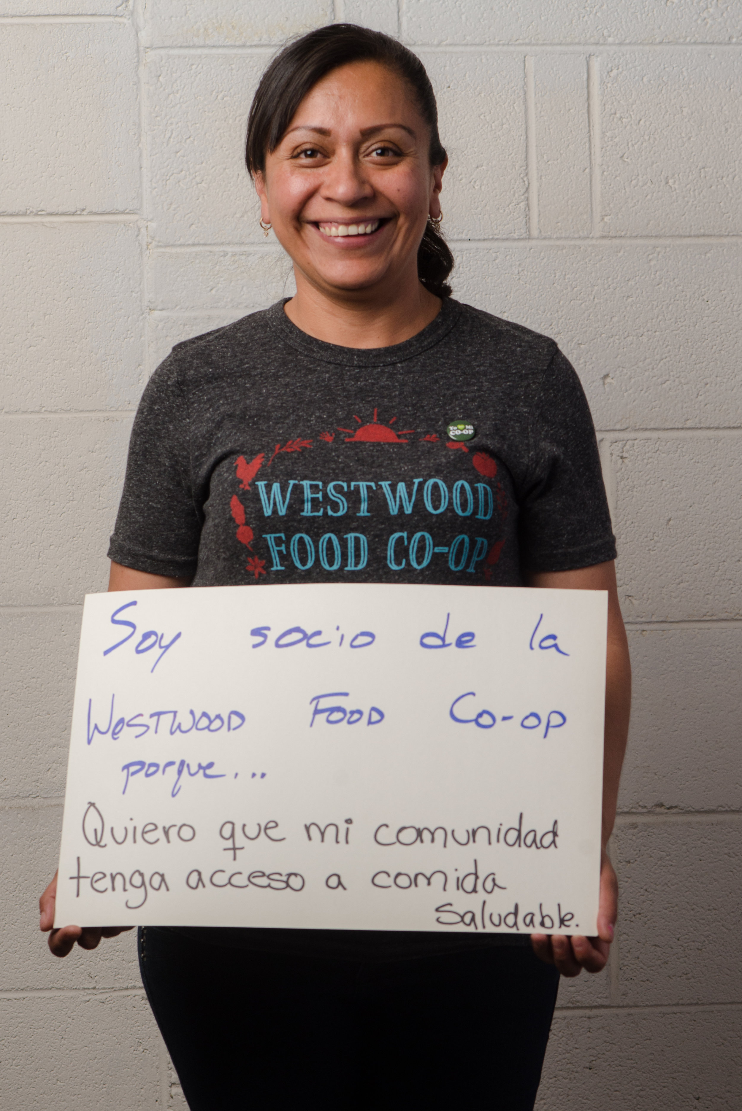"""I am a member of the Westwood Food Co-Op because I want my community to have access to healthy food."" - Yuridia Bahena Santana, Re:Own Program Manager and Member of the Westwood Food Co-Op."
