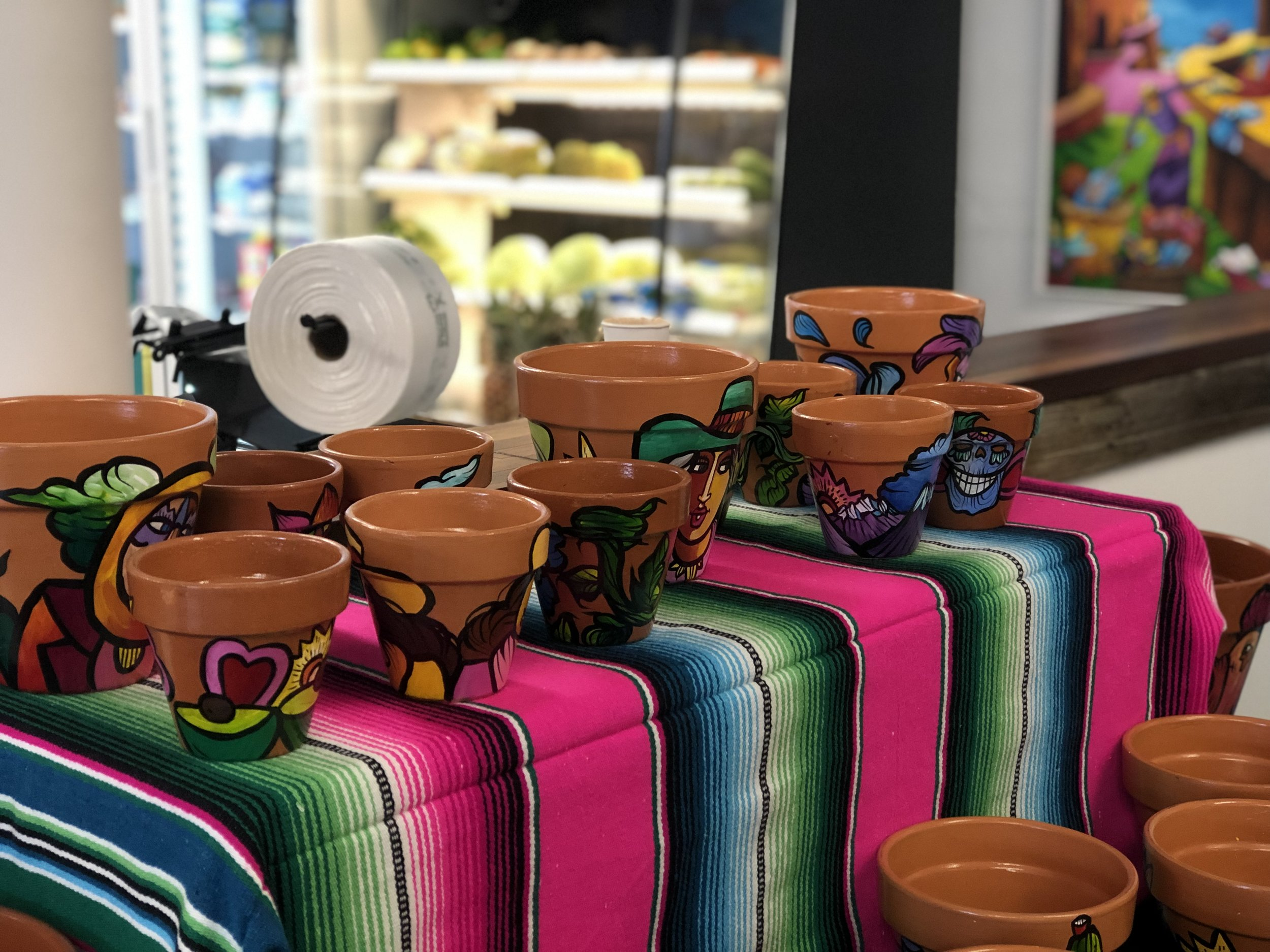 Luna's signature hand painted pots