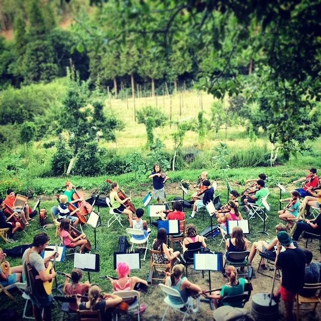 "photo by Yale Creek Crew.  ""  One of the many things we do here at Yale Creek Brewfarm is host a   #farm   camp. Many of our campers are talented   #musicians   and every night put on a mini  #symphony   performance in the yard."""