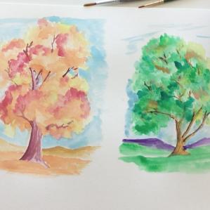 Lesson Six - dry/hard watercolor paints & paper