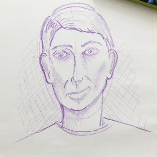 Lesson Eleven - Crayon portrait on (low texture) drawing paper.