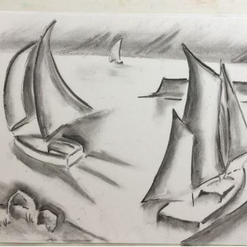 Lesson Twenty-one: Charcoal (boating scene), kneadable eraser + drawing paper