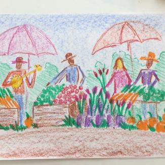Lesson Twenty-three: Stick + block crayon farmers market w/figures on drawing paper