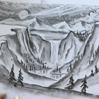 Lesson Thirty-one: Charcoal, kneadable eraser & drawing paper - Canyon