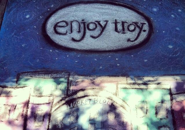 Troy River Fest sidewalk chalk.