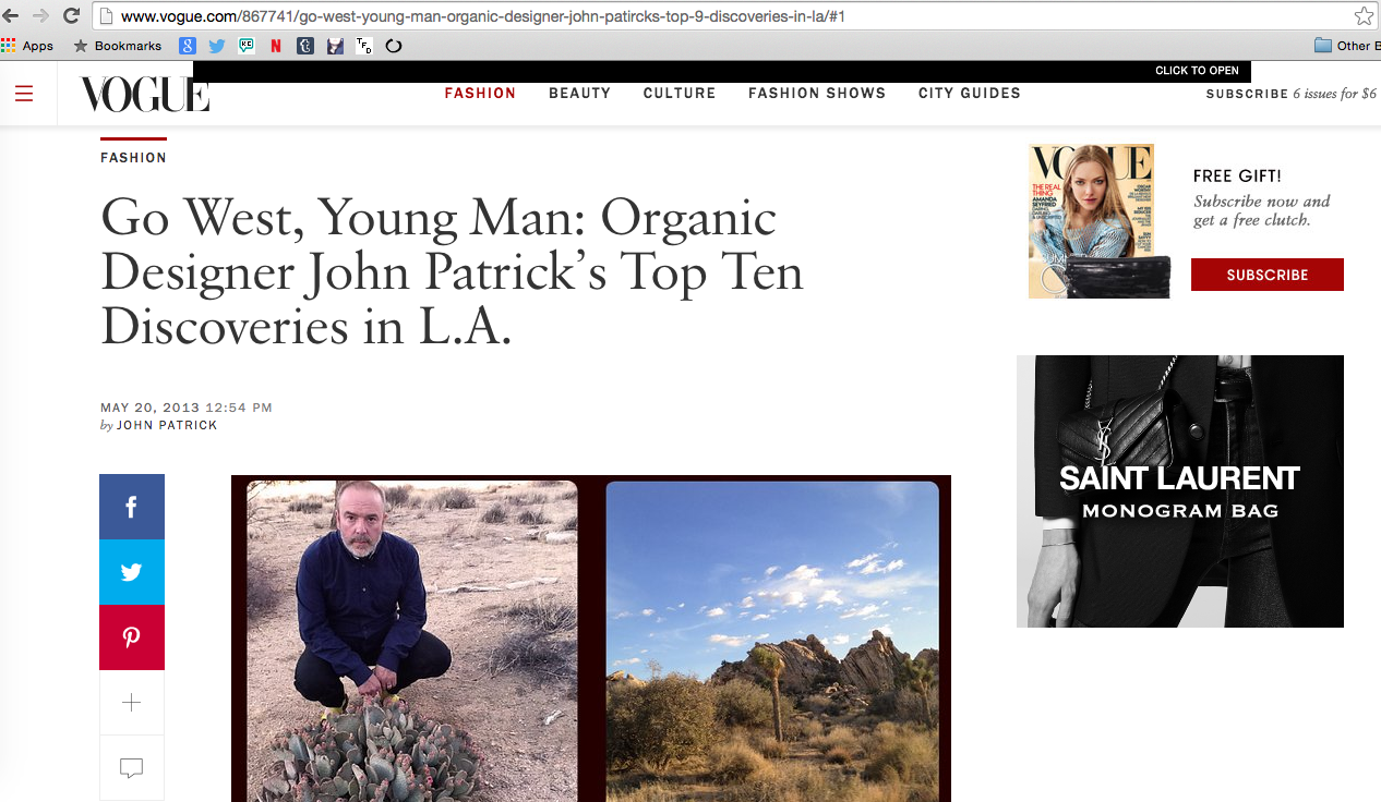Assisting with editing, working alongside John Patrick for this article as published on  Vogue.com .