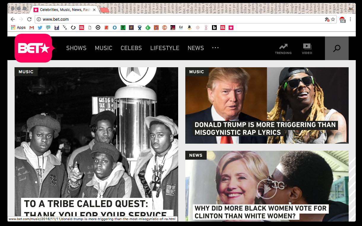 As highlighted on BET.com's homepage, November 11, 2016.