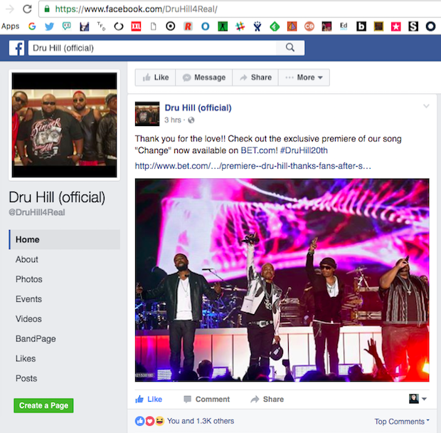 Article shared on Dru Hill's official page.