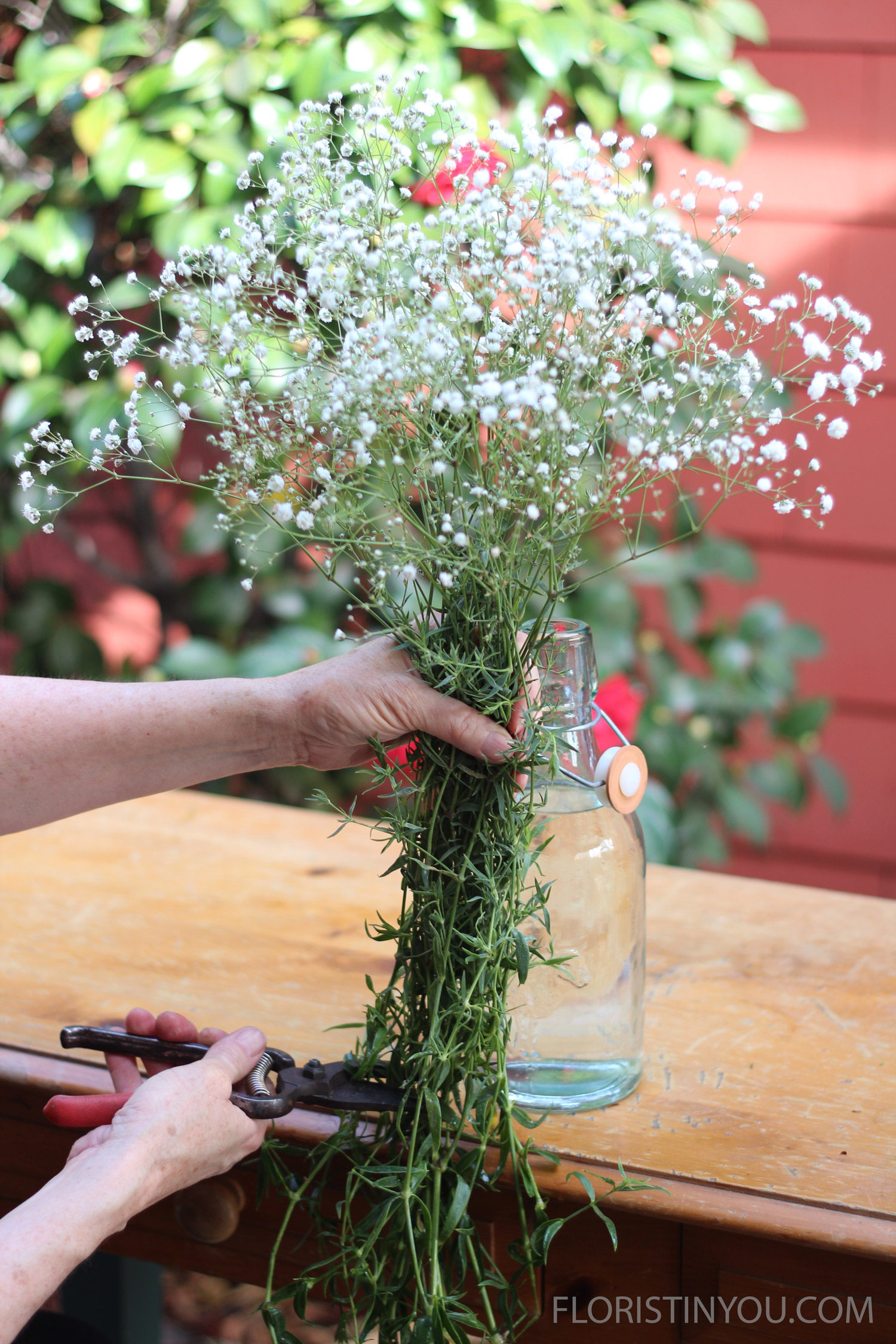 Take 1/3 bunch of baby's breath. Hold it up and cut where it lines up with the inside of the bottom of thebottle.