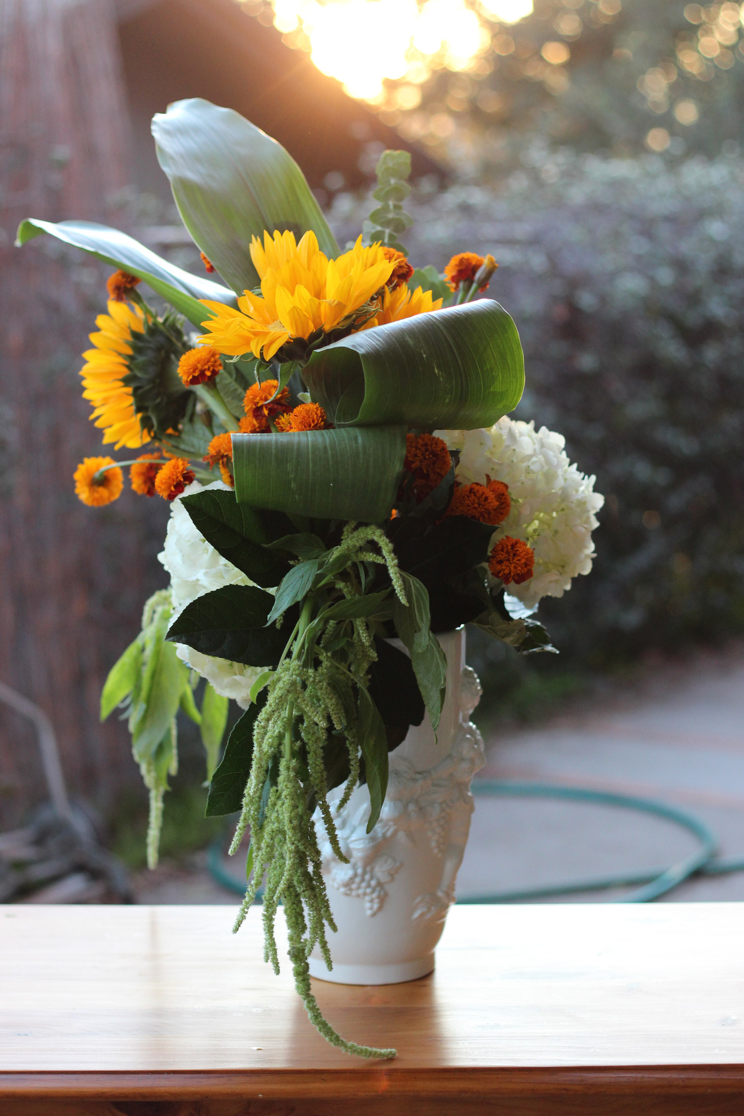 This arrangement has a definite front, back, right side, and left. This is how the left side will look.