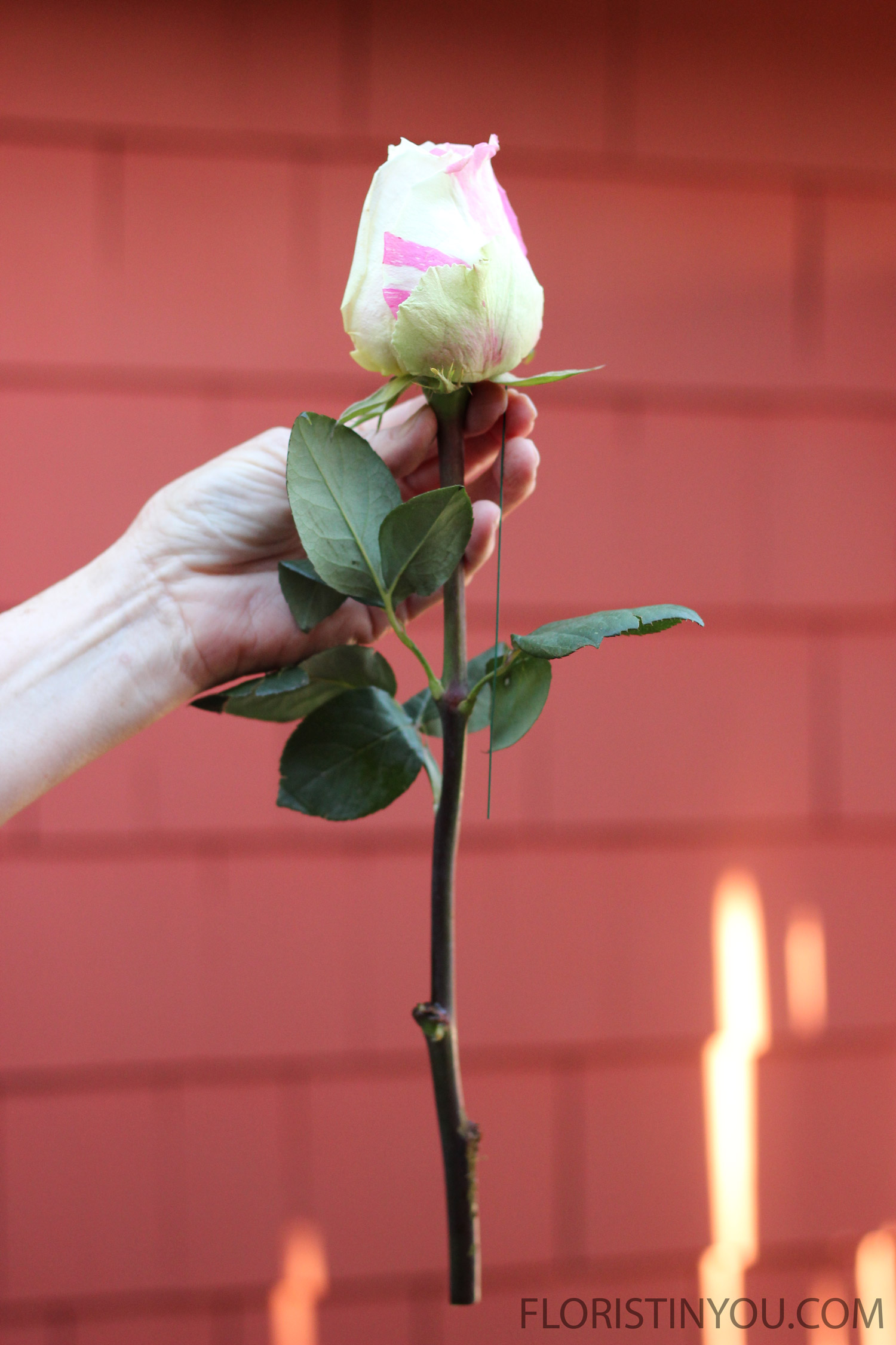 Snip a tiny bit off each stem and wire each rose. Use 1/3 a piece of floral wire.
