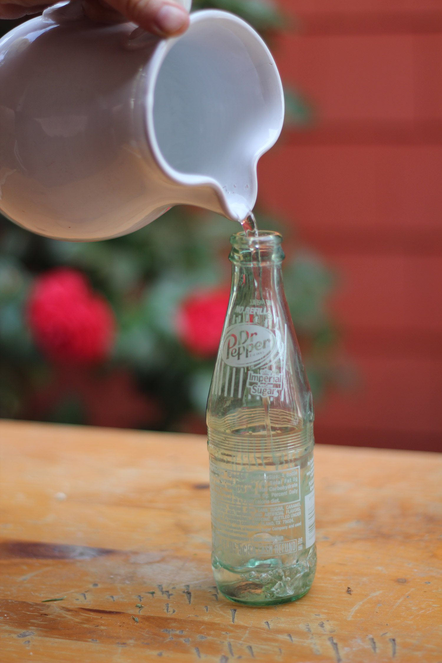 Find a glass soda bottle like this one withgreen glass and white lettering. Fill with water up to 2 inches below neck.