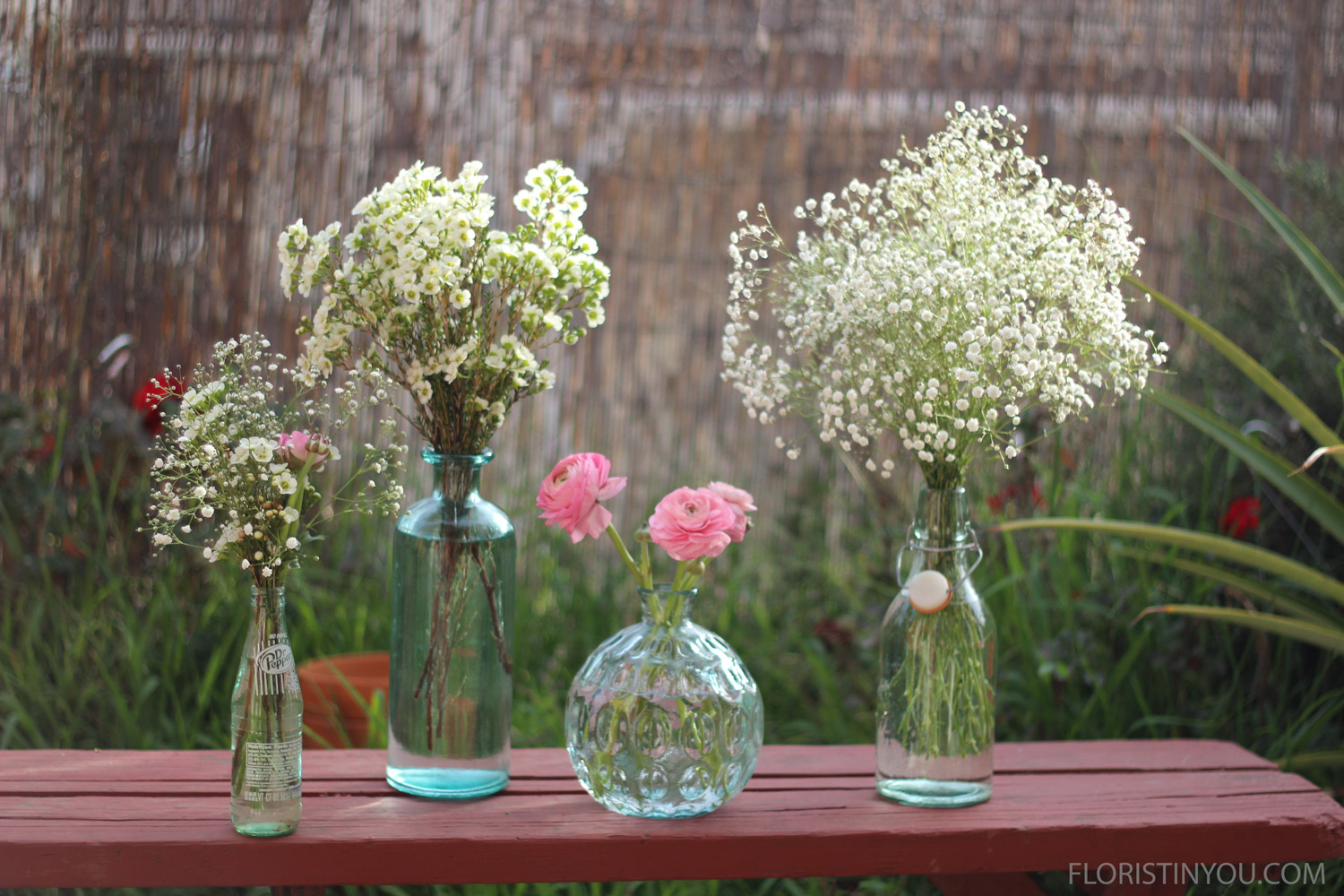 Wonderful witharecycled glass vases  grouping .