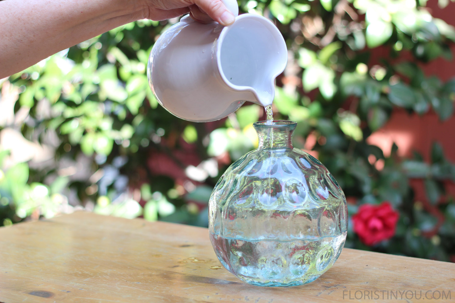 Fill your vase with water.