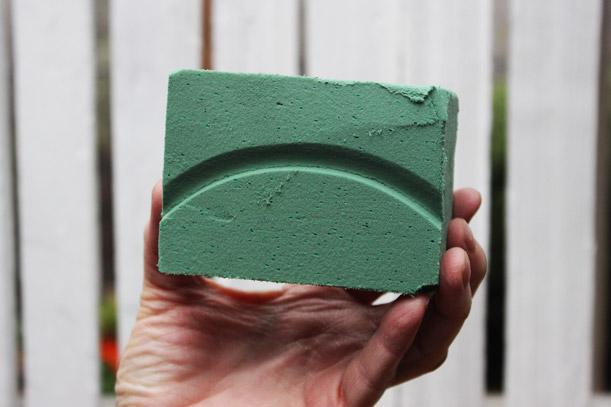 Press top of urn into foam to get shape, then cut.