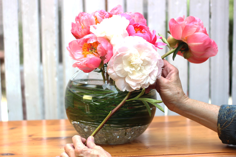 """Measure 2 side blooms at about 15"""". Cut and place both sides."""