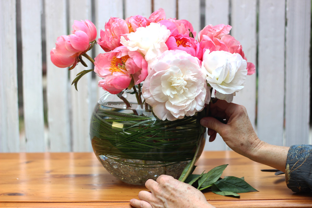 Measure blush peony for right side. Repeat for left side.