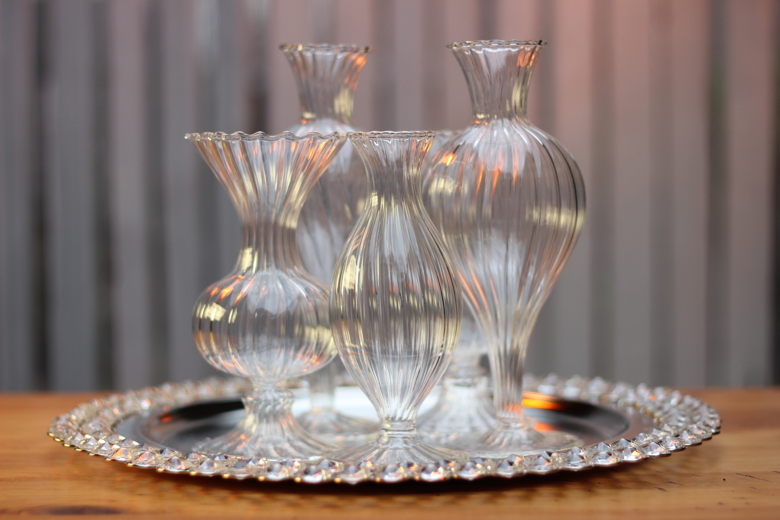 Here are the five bud vases of similar but different height and shape that you saw.