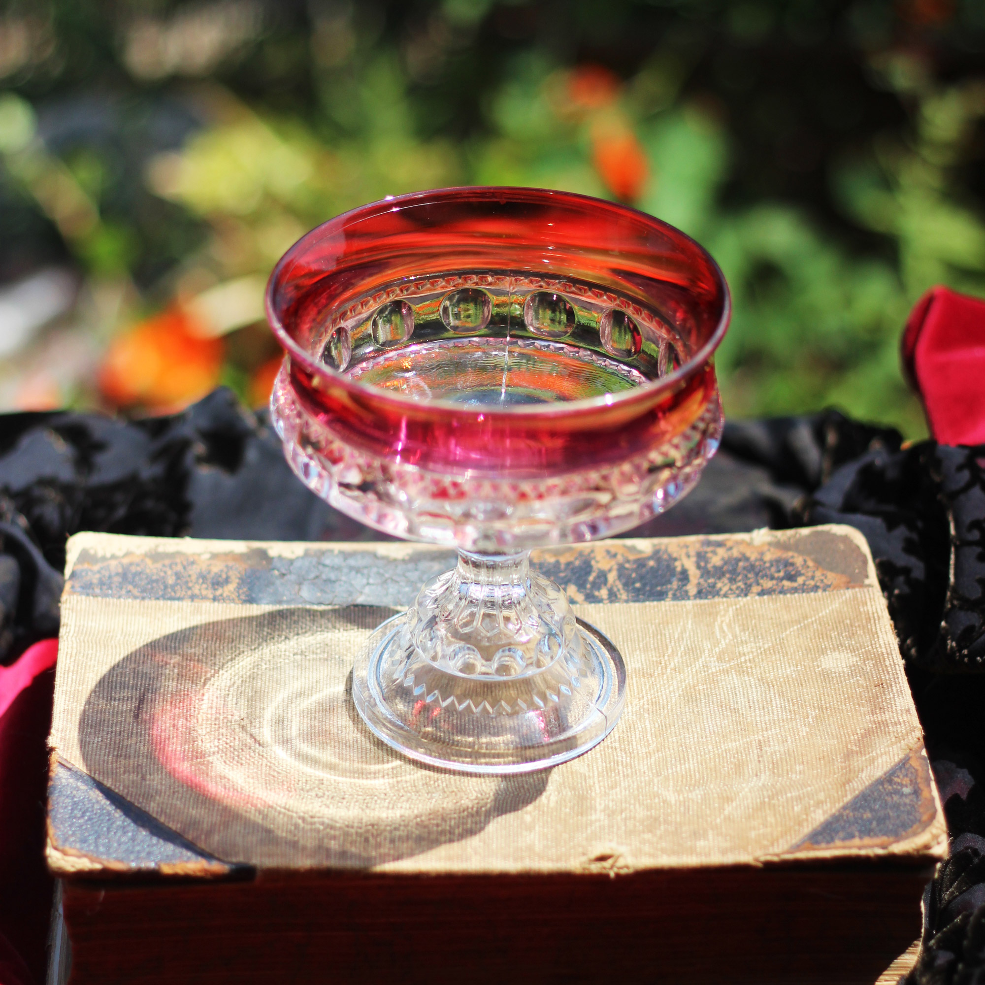 Like Dorothy's ruby red slippers, this compote is also ruby red.