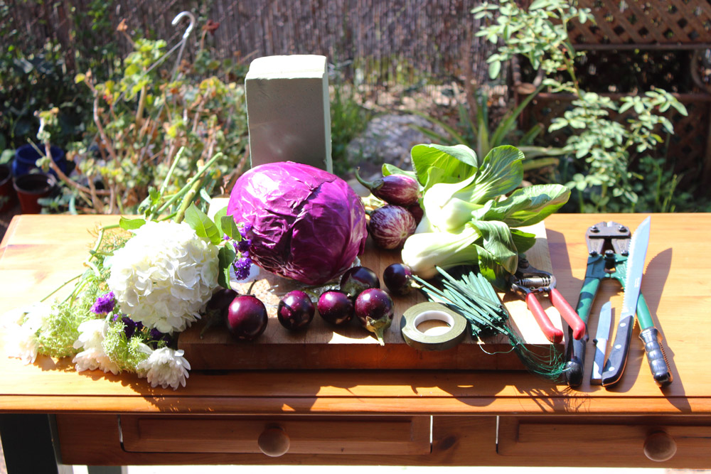 Here we have everything assembled that you will use. Make sure to use a cutting board! You don't want a nice new purple color on your table now do you dear.
