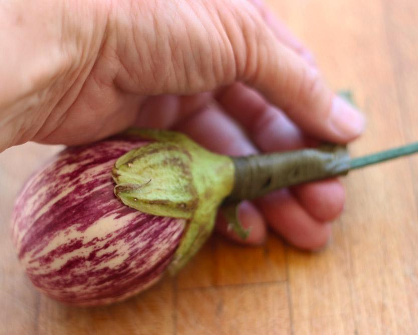 Wrap florist tape around the stem and pick.