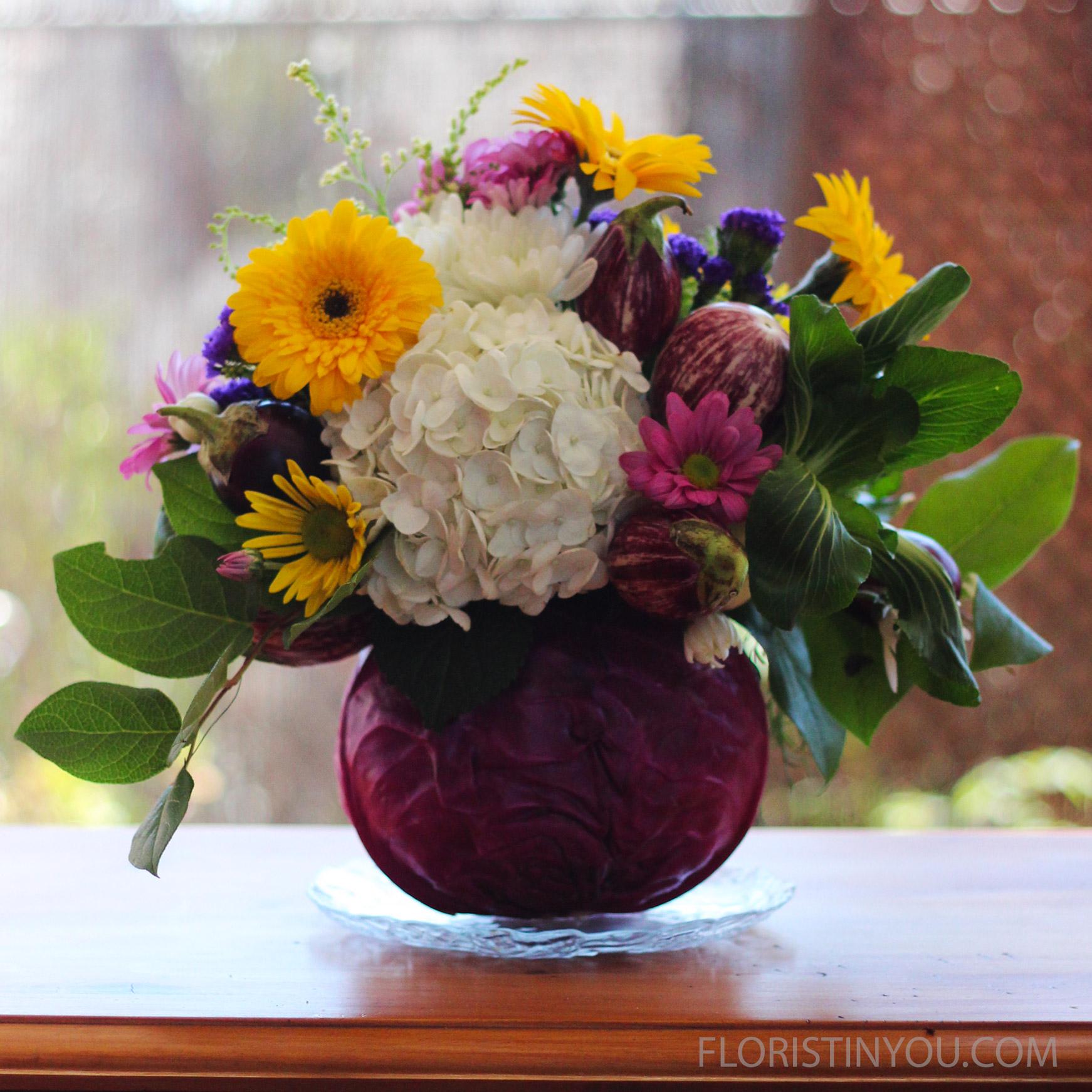 Cabbage and Hydrangea Arrangement