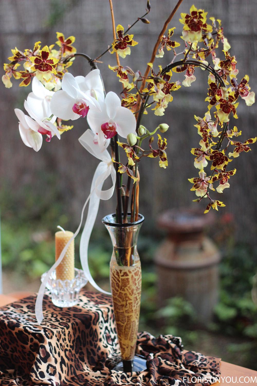 Kosta Boda Leopard Cat Flower Arrangement