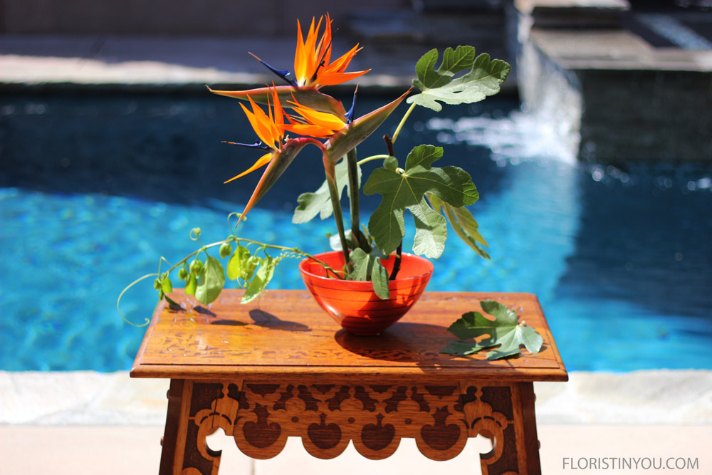 The arrangement is complete. Enjoy the beauty and serenity of nature with this arrangement.