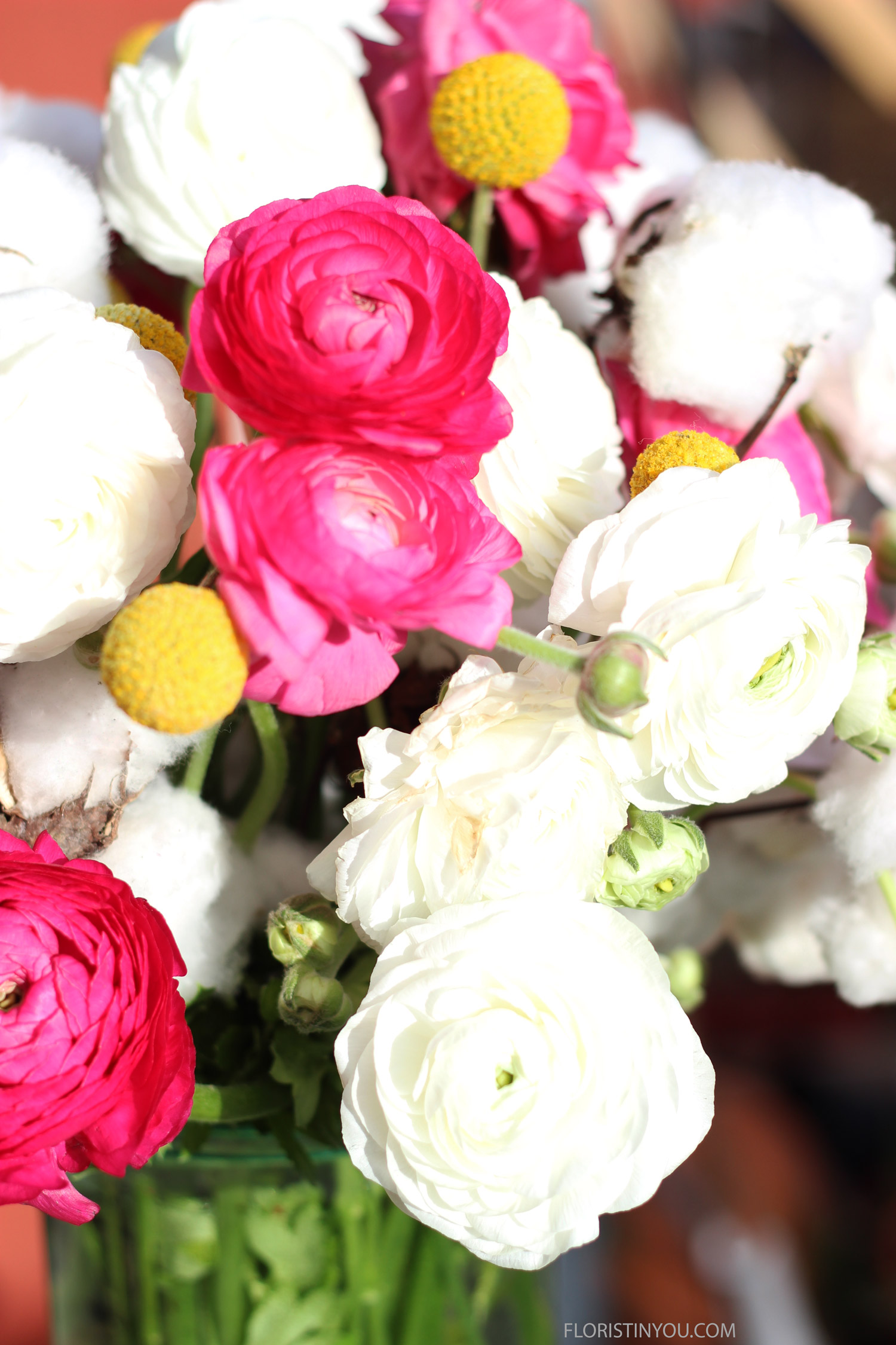 Add the buds with the Ranunculus. They have a wonderful look all their own.