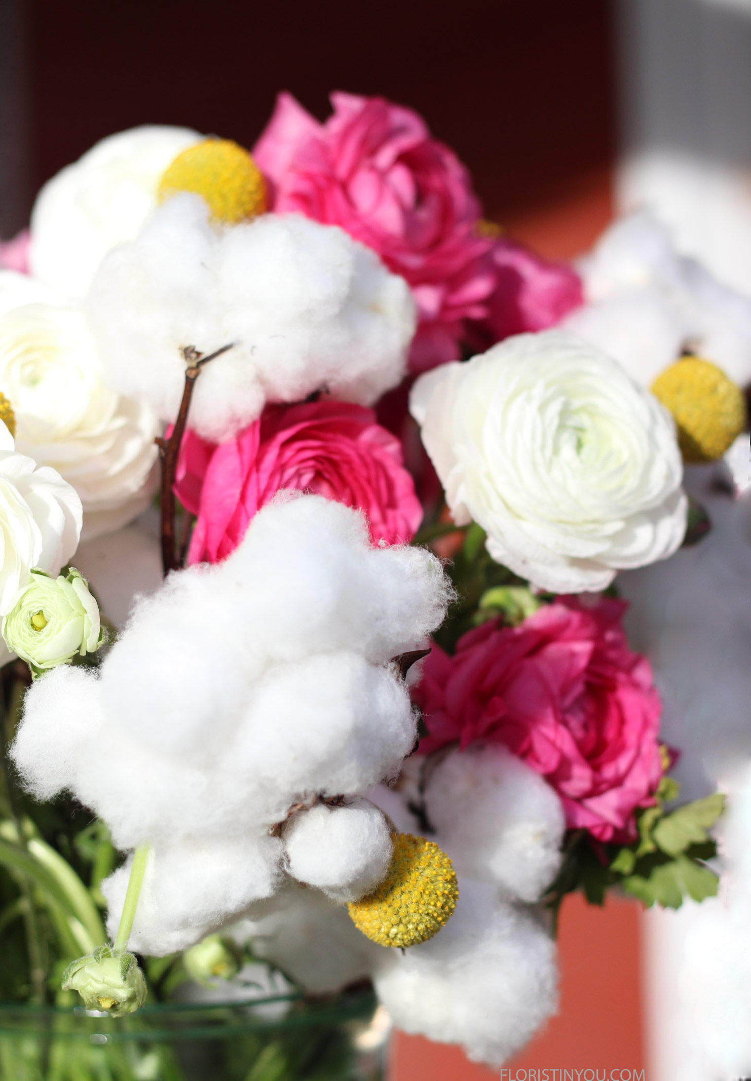 Really fun...cotton balls and Billy Balls and Ranunculus.